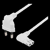DELTACO cable, 0.5m, angled CEE 7/16, IEC 60320 C7, Max 250V 2.5A, white / DEL-109BR