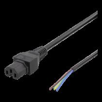 DELTACO C15 для шнура питания с открытым концом, 2 м, IEC C15, 10 А, черный