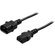 DELTACO  extension  cable, straight IEC 60320 C14 for straight IEC 60320 C13, max 250V / 10A, 1m black / DEL-112