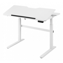 Electric sit / stand desk DELTACO OFFICE with tiltable table top and LED control panel, white / DELO-0100