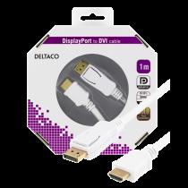 Кабель монитора DELTACO DisplayPort - HDMI, 20-контактный - 19-контактный, 1 м, белый