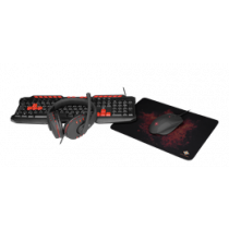 Gaming Kit DELTACO GAMING 4-in-1, UK, Keyboard / Mouse / Mouse Pad / Headset, Black/ GAM-023UK