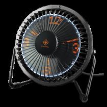 DELTACO GAMING USB настольный вентилятор с часами, черный