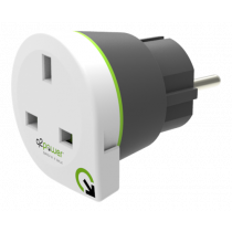 Q2power grounded travel adapter, UK to EU, 16A, white / GT-911