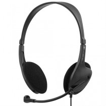 Headphones DELTACO, with microphone, black / HL-43