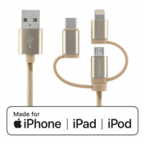 Universal Charge and Sync cable, 1m, Micro USB, USB-C, Lightning DELTACO gold / IPLH-596