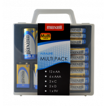 Maxell Alkaline Battery Multi-Pack, AA / AAA / C / D / 9V, защитный поддон, бл