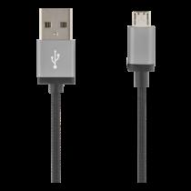 USB Sync/Charging Cable, braided, USB-A ma - USB Micro B ma, 1m, 2.4A, USB 2.0 DELTACO black / MICRO-110F