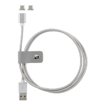 """Phone cable STREETZ, USB 2.0, """"A-micro B"""", magnetic, 1.0m, silver / MICRO-131"""
