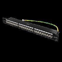 "DELTACO 19 ""patch panel, 24xRJ45, Cat6a, STP, 1U, 10Gbps, crown plinth, metal, black / PAN-200"