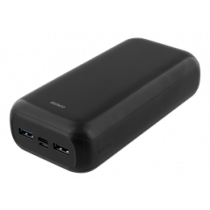 DELTACO 30 000 мАч Power bank, USB-C, 2x USB-A, 2.1A, светодиодный индикатор, б