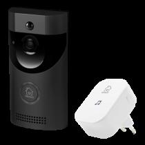 ДЕЛЬТАКО SMART HOME дверной звонок с камерой, WiFi, IP44, ИК, черный