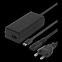 DELTACO 65W USB-C Зарядка для ноутбука, 2м, USB-PD, черный