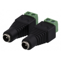 2-pin Terminal block to 5.5 DC, 2-Pack, Screw fix, 5.5 DC female DELTACO black / TBL-1004