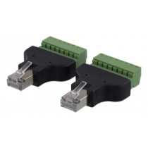 8-pin Terminal block to RJ45, 2-Pack, Screw fix, RJ45 male DELTACO black / TBL-1010