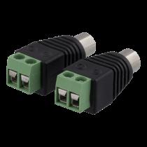 DELTACO 2-контактный Клеммный блок к RCA, 2-Pack, Винтовая фиксация, RCA female, bl