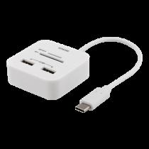 Card reader DELTACO USB-C SD, USB-A 2.0, 480 Mbps, 18 cm, white  / UCR-157