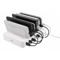 DELTACO USB charging station, 6x USB-A ports, 5V DC, 10A, 50W, 1.5m cable, white / USB-AC156
