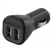 Car Charger DELTACO, 2.4A, 2xUSB, black / USB-CAR119