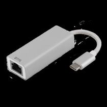 DELTACO PRIME USB-C Network Adapter, Gigabit, 1xRJ45, 1xUSB Type C Male, Aluminum, Silver/ USBC-1077