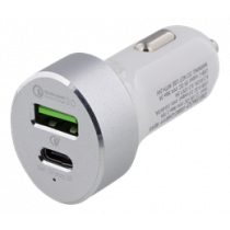 DELTACO Car Charger, USB-C, white USBC-CAR111