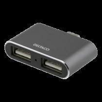 USB-C hub DELTACOIMP USB 3.1, BC 1.2, 100W, 2xUSB-A, 2xUSB-C, black / USBC-HUB105