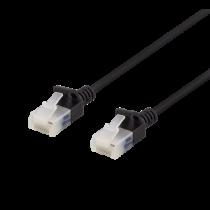 DELTACO U/UTP Cat6a patch cable, slim, 3.5mm in diameter, 0.5m, 500MHz, black / UUTP-1017