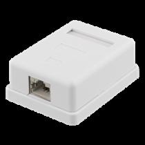 Shielding wall socket, Surface FTP 1xRJ45, Cat6A DELTACO white / VR-220