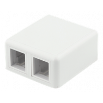 Surface wall outlet for Keystone, 2 ports, DELTACO white / VR-223