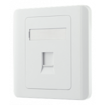 Flush mount for Keystone, 1 port, dust hatch DELTACO white / VR-226
