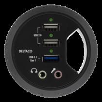 Настольный USB-концентратор, 1xUSB-A 3.1 Gen1, 2xUSB-A 2.0, 2x3.5 мм аудио, 2.4A, BC 1.2, 60 мм монтажный диаметр DELTACO black / VR-817